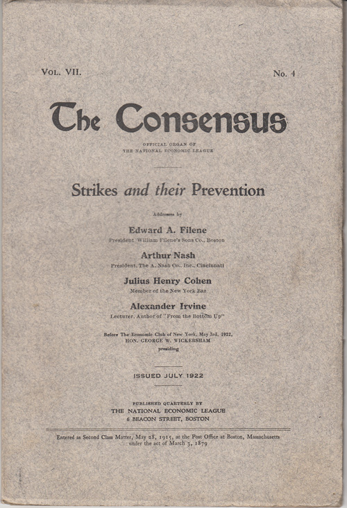 The Consensus: Strikes and their Prevention (Vol. VII, No. 4)