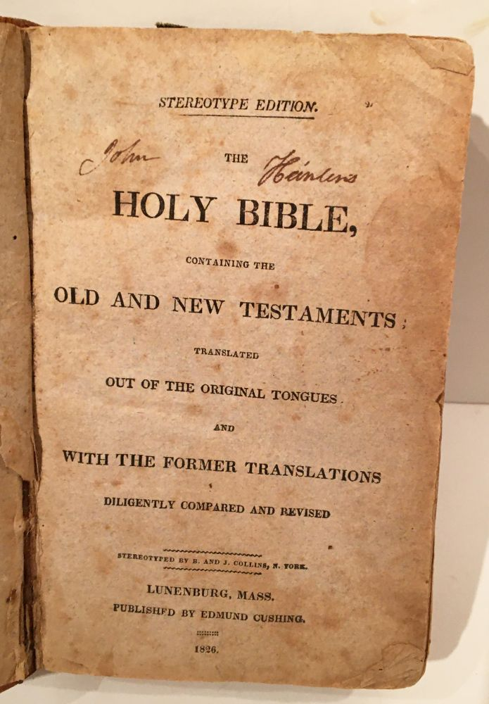 The Holy Bible (SIGNED & brought west on a wagon train in 1852 by Captain John Heinlen, Wagon Master)