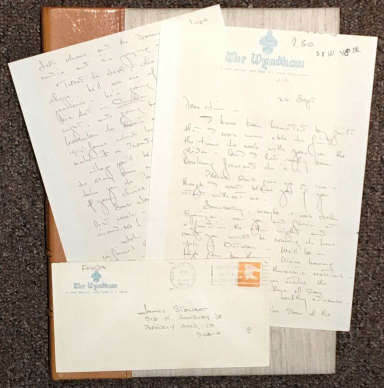 Emotional Manuscript Letter from Henry Fonda to James Stewart, Hollywood legends and life-long friends. Henry Fonda.