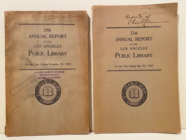 Annual Report of the Los Angeles Public Library (4 issues, 2 INSCRIBED by Lummis). Charles F. Lummis, Librarian.