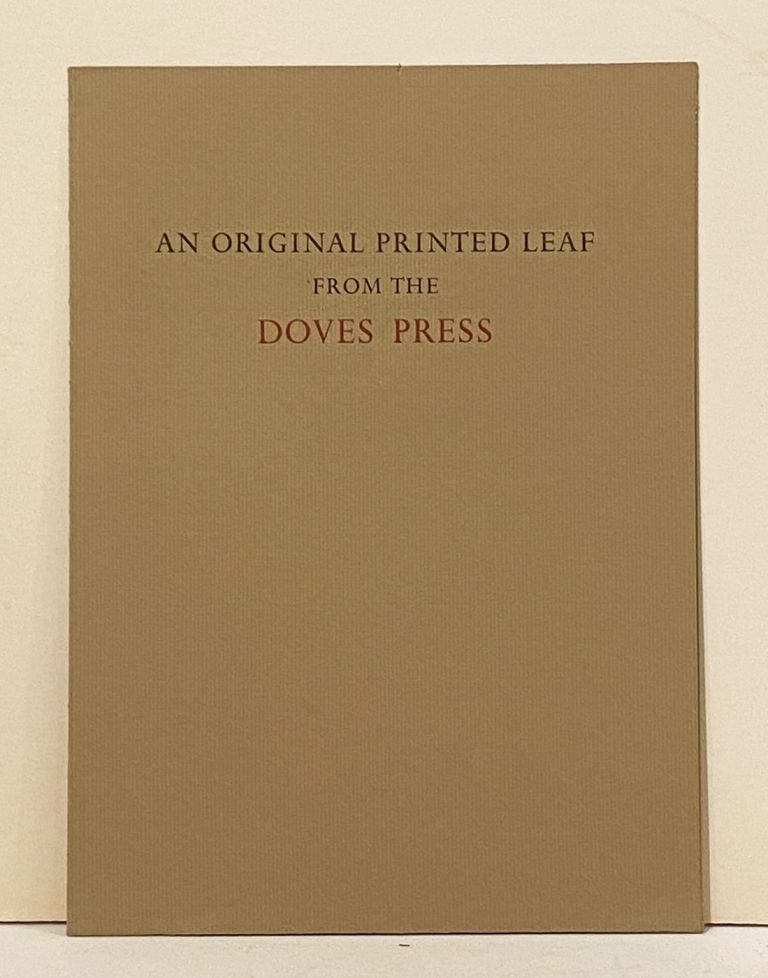 An Original Printed Leaf from the Doves Press (Rape of Lucrece). William Shakespeare.
