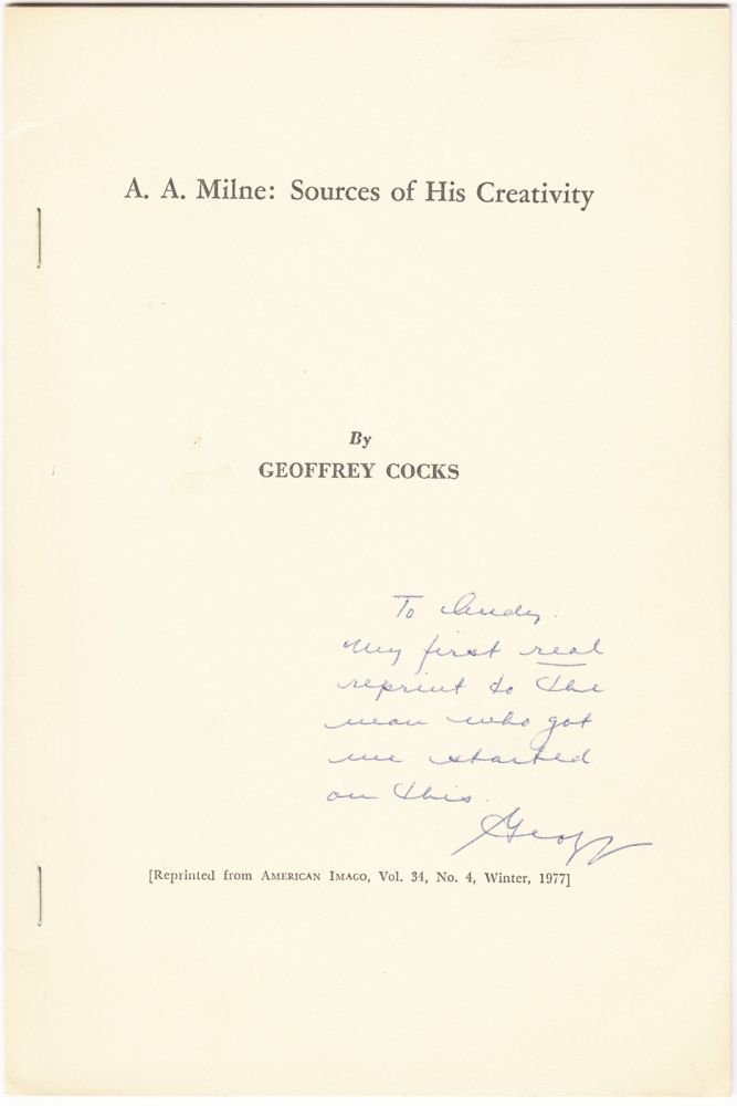 A. A. Milne: Sources of His Creativity (INSCRIBED). Geoffrey Cocks.
