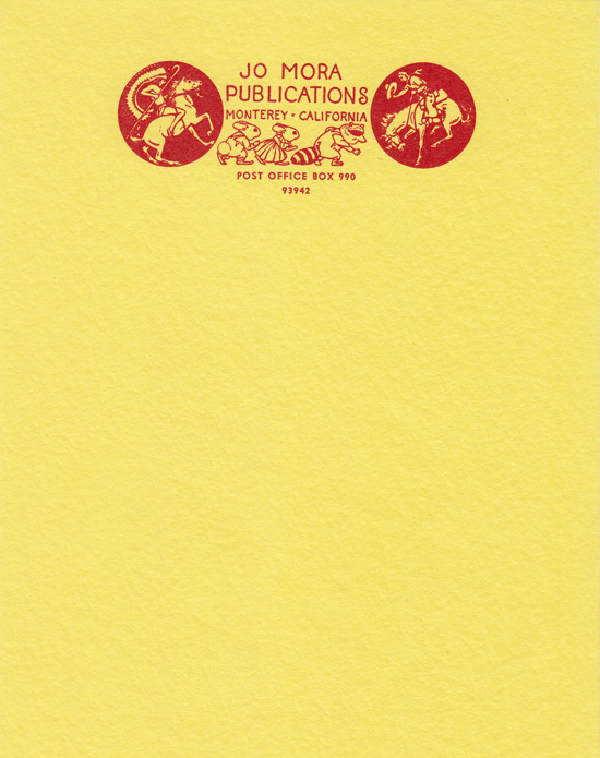 Jo Mora Publications Stationery (Letterhead with Matching Envelope). Jo Mora.
