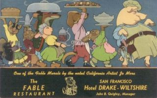 The Fable Restaurant, San Francisco Hotel Drake-Wiltshire (Postcard). Jo J. Mora