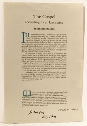The Gospel According to St. Lawrence (SIGNED). Lawrence Clark Powell