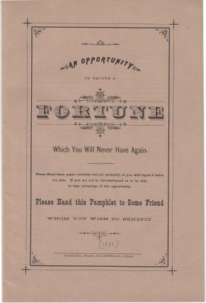 An Opportunity To Secure A Fortune Which You Will Never Have Again. Carlton Seaver