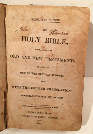 The Holy Bible (SIGNED & brought west on a wagon train in 1852 by Captain John Heinlen, Wagon Master