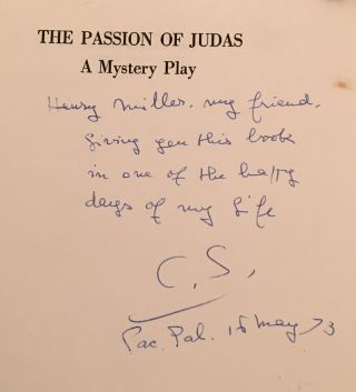 The Passion of Judas: A Mystery Play (INSCRIBED by the author to Henry Miller)
