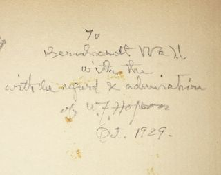 William F. Hopson and His Bookplates (INSCRIBED to Bernhardt Wall)