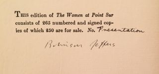 The Women at Point Sur (SIGNED, Presentation copy)