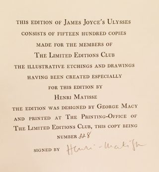 Ulysses (SIGNED by Matisse)