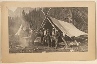 Original Black & White Photograph of a Camping Scene in the Mountains
