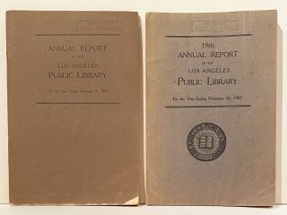 Annual Report of the Los Angeles Public Library (4 issues, 2 INSCRIBED by Lummis)