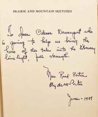 Prairie and Mountain Sketches (INSCRIBED)